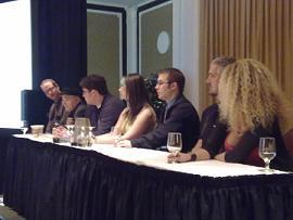 R-L: Conor McCreeny, Walter Koenig, Kenneth Tam, Ellen Curtis, Matthew LeDrew, PJ Haarsma, Drakaina Muse.