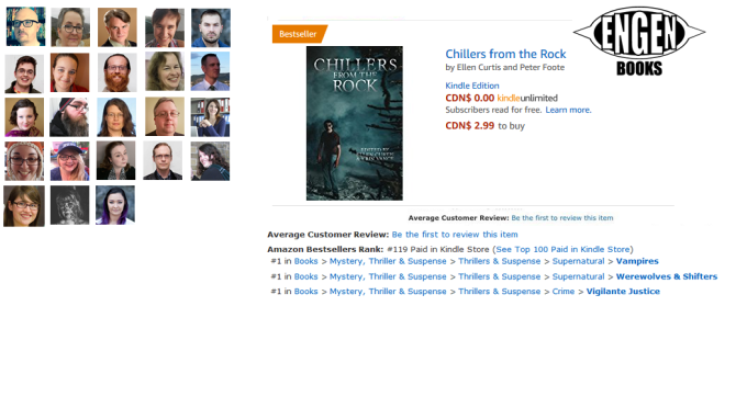 Chillers from the Rock becomes an Amazon Canadian Bestseller in 4 categories: Vampire, Werewolf/Shifter, Vigilante Justice, & Hot New Thriller Releases!